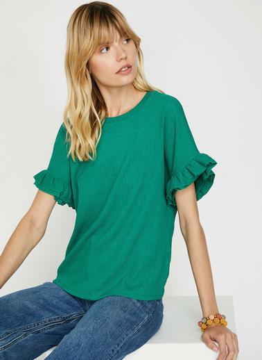 Koton Fırfır Detaylı T-Shirt Yeşil